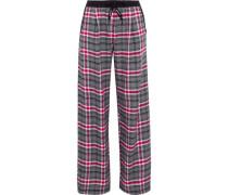 Checked Flannel Pajama Pants Gray
