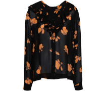 Fairfax Ruffle-trimmed Floral-print Georgette Blouse Black