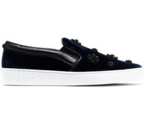 Leather-trimmed Embellished Velvet Slip-on Sneakers Midnight Blue