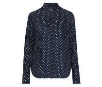Polka-dot Washed-silk Shirt Navy