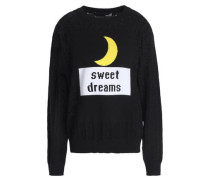 Intarsia And Pointelle-knit Cotton Sweater Black