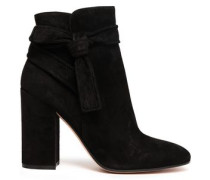 Knotted Suede Ankle Boots Black