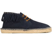 Lace-up fringed espadrilles