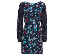 Chiffon-paneled Floral-print Silk Crepe De Chine Mini Dress Navy