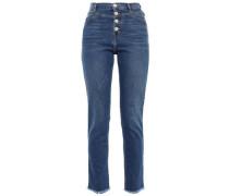 Frayed High-rise Slim-leg Jeans Mid Denim