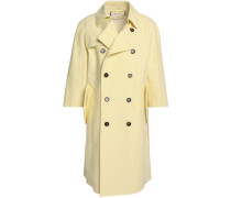 Double-breasted Cotton-blend Trench Coat Pastel Yellow