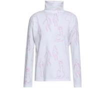 Gordon Printed Cotton-jersey Turtleneck Top White