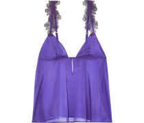Embroidered Tulle-trimmed Silk-blend Chiffon Chemise Purple Size III