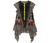 Lace-paneled printed silk-blend georgette blouse
