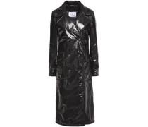 Cracked-vinyl Trench Coat Black