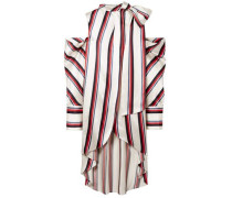 Woman Oversized Cold-shoulder Striped Satin-twill Blouse Ivory