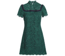 Ruffle-trimmed cotton-blend corded lace mini dress