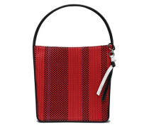 Striped leather tote
