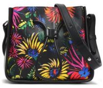 Floral-print leather shoulder bag