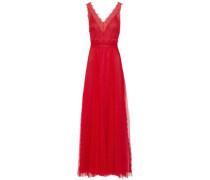 Chantilly lace-trimmed plissé-tulle gown