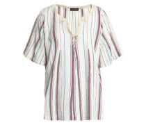 Striped Gathered Cotton Top Beige