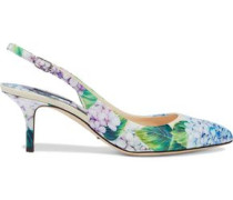 Floral-print patent-leather slingback pumps