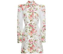 Appliquéd Floral-print Linen And Gauze Mini Shirt Dress White Size 0