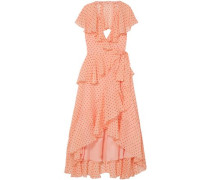 Ruffled Polka-dot Silk-voile Midi Dress Peach