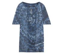 Burnout-paneled Tie-dyed Cotton-blend Jersey T-shirt Storm Blue Size 1