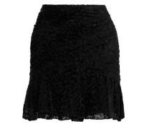 Corey Ruched Devoré-chiffon Mini Dress Black