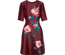 Floral-print wool and silk-blend taffeta dress