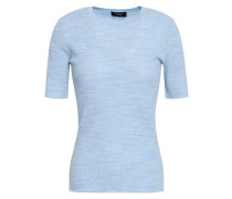 Mélange Ribbed Merino Wool And Cotton-blend Top Sky Blue