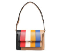 Woman Striped Leather Shoulder Bag Multicolor