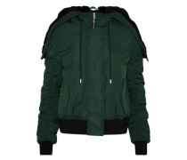 Shearling-trimmed Shell Down Hooded Jacket Forest Green