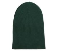 Ribbed Cashmere Beanie Dark Green Size ONESIZE