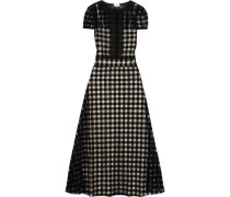 Lace-trimmed checked felt and mesh maxi dress