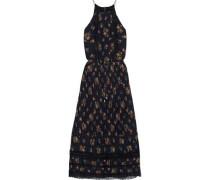 Woman Pleated Lace-trimmed Floral-print Chiffon Midi Dress Black