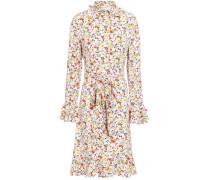 Tie-front Floral-print Crepe De Chine Shirt Dress Ecru