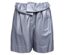 Metallic Leather Shorts Light Blue