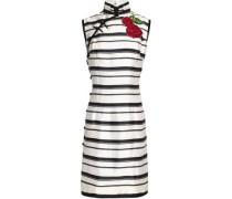 Appliquèd striped silk-twill dress