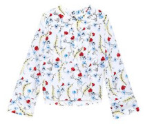 Floral-print Washed-silk Blouse White