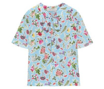 Pussy-bow Floral-print Silk Blouse Light Blue Size 0