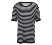 Striped Merino Wool-blend T-shirt Black