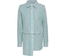 Convertible Striped Cutout Cotton-poplin Shirt Green