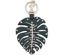 Tropical Dream Leaf Studded Leather Keychain Black Size --