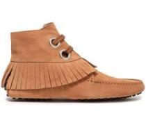 Fringe-trimmed Suede Ankle Boots Sand
