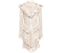 Ruffled Lace-appliquéd Ramie-blend Mini Dress Blush Size 0