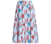 Jane Pleated Floral-print Cloqué Midi Skirt Sky Blue