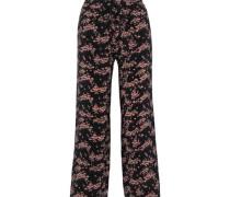 Orla Cropped Floral-print Silk Crepe De Chine Wide-leg Pants Black