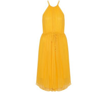 Gathered silk-crepon dress