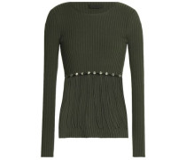 Convertible ribbed cotton sweater