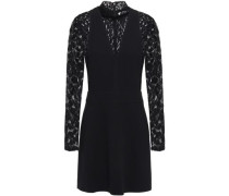 Woman Lace-paneled Crepe Mini Dress Black