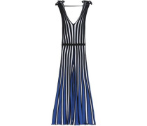 Pleated striped stretch-knit jumpsuit