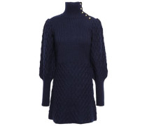 Ribbed And Cable-knit Wool-blend Turtleneck Mini Dress Midnight Blue