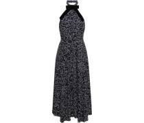 Velvet-trimmed Printed Crepe Halterneck Midi Dress Midnight Blue
